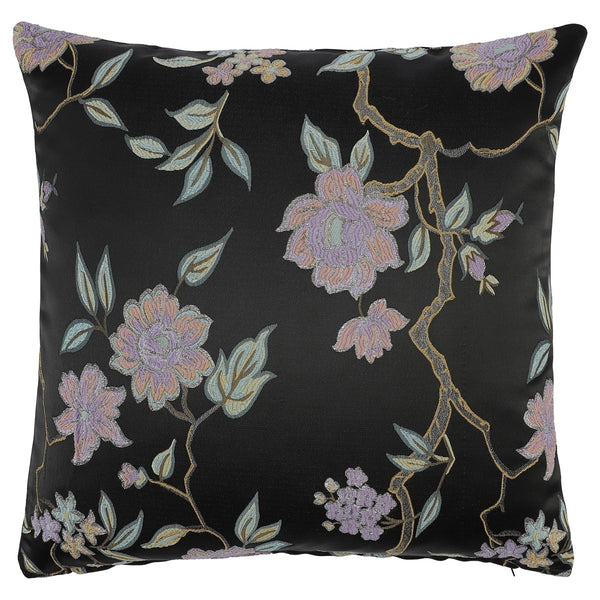 DAGNY #110-547/50 Cushion cover Black w/multicolor flowers