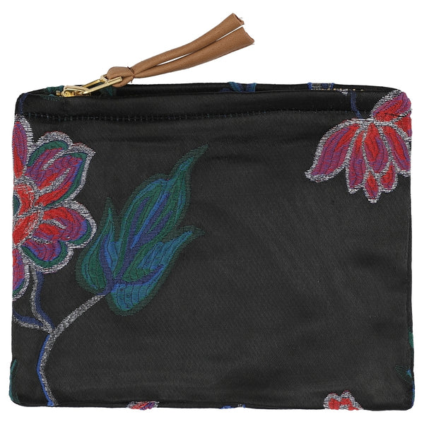DAGNY #134-553/18 Pouch Black w/multicolor flowers