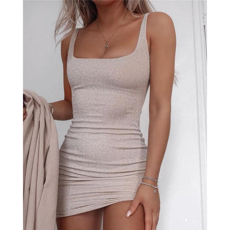 ADORA SHIMMER BODYCON DRESS - CHAMPAGNE DRESS Laucala Boutique