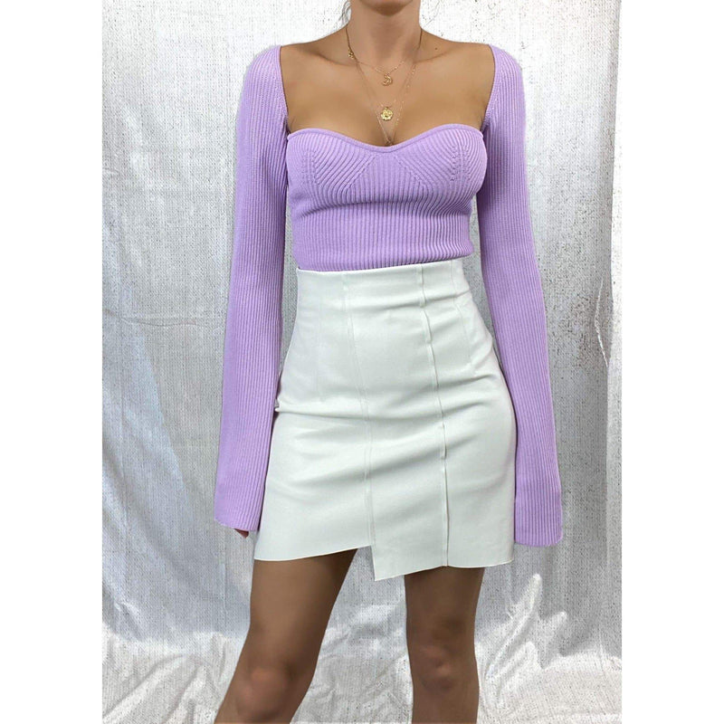 ALANA LONG SLEEVE SWEETHEART KNIT TOP - LILAC KNITWEAR Laucala Boutique