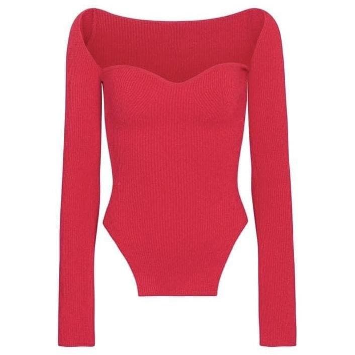 ALANA LONG SLEEVE SWEETHEART KNIT TOP - RED KNITWEAR Laucala Boutique