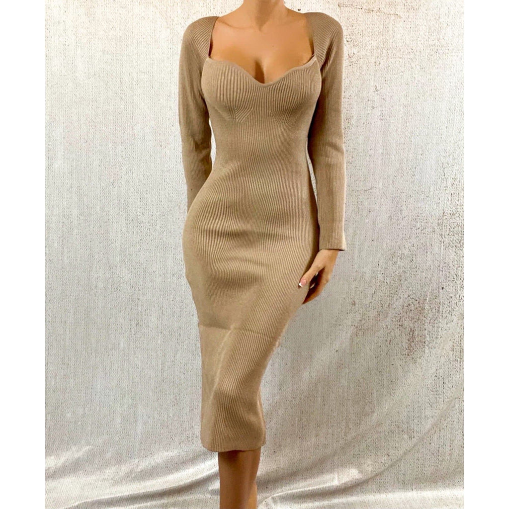 ALANA LONG SLEEVED SWEETHEART MIDAXI DRESS - BEIGE DRESS Laucala Boutique