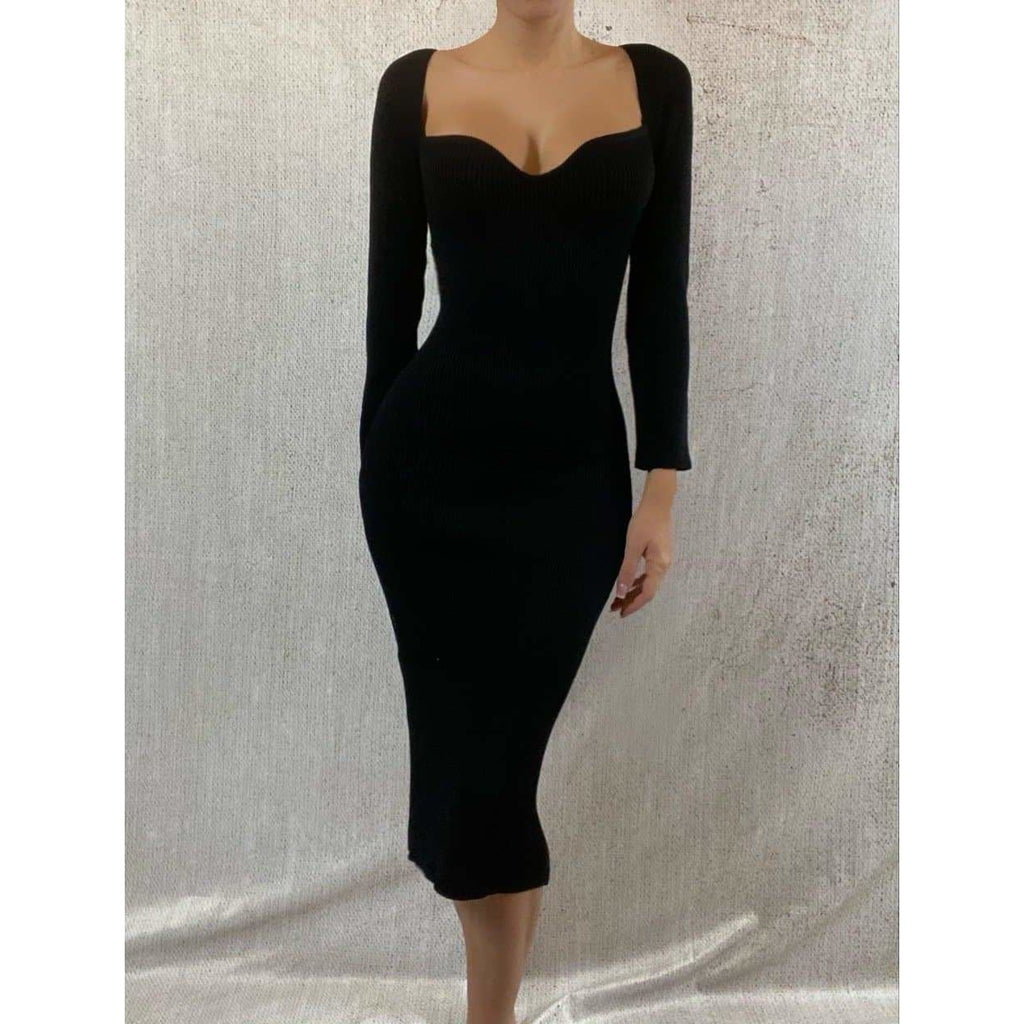 ALANA LONG SLEEVED SWEETHEART MIDAXI DRESS - BLACK DRESS Laucala Boutique