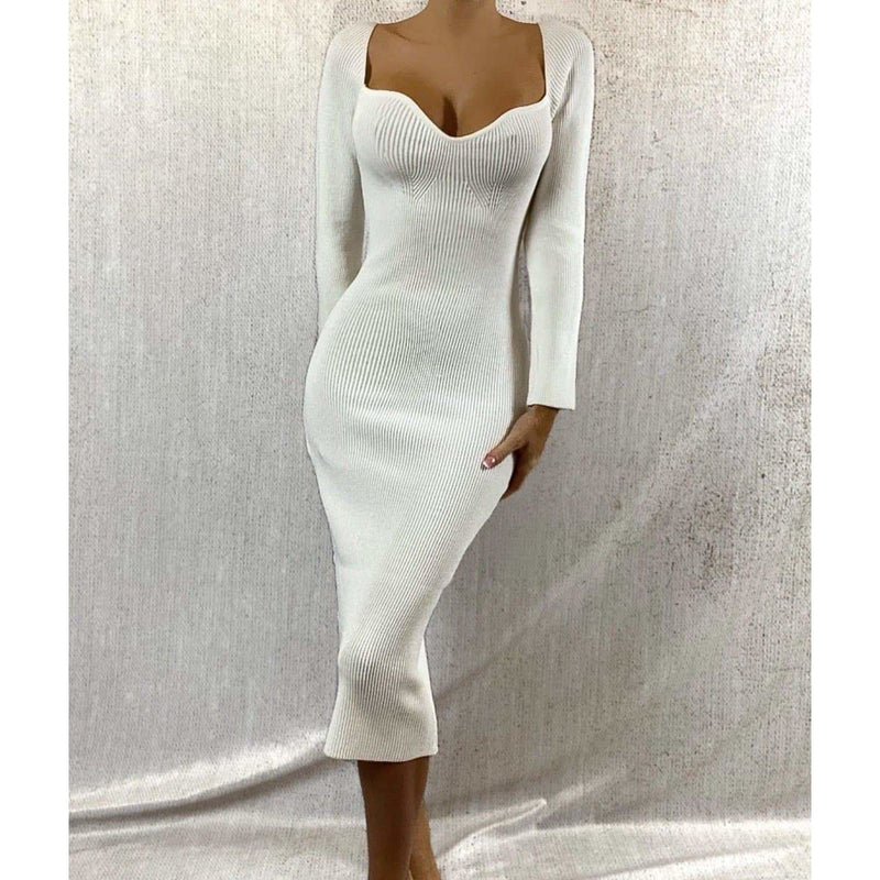 ALANA LONG SLEEVED SWEETHEART MIDAXI DRESS - CREAM DRESS Laucala Boutique