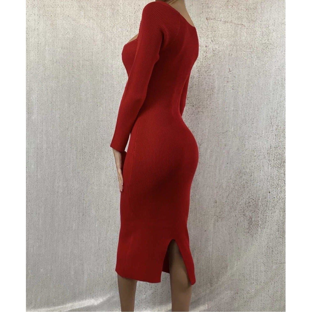 ALANA LONG SLEEVED SWEETHEART MIDAXI DRESS - RED DRESS Laucala Boutique