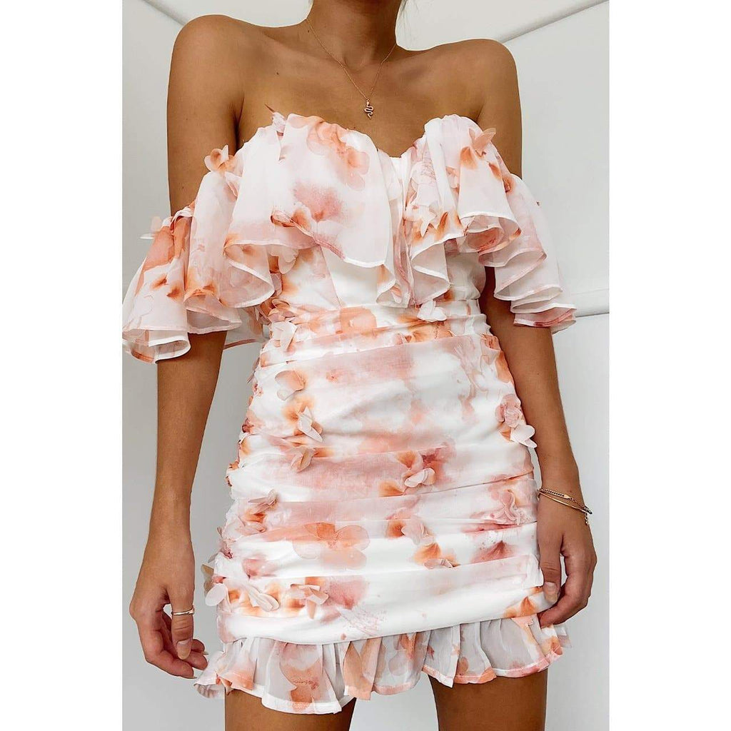 AMAL BARDOT DRESS - PEACH DRESS Laucala Boutique