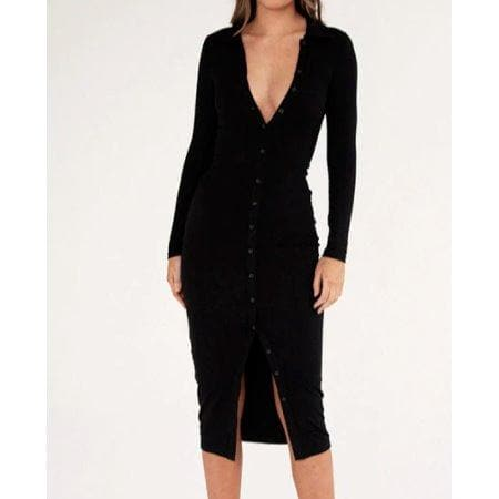 AMAL MAXI BUTTON DOWN DRESS - BLACK DRESS Laucala Boutique