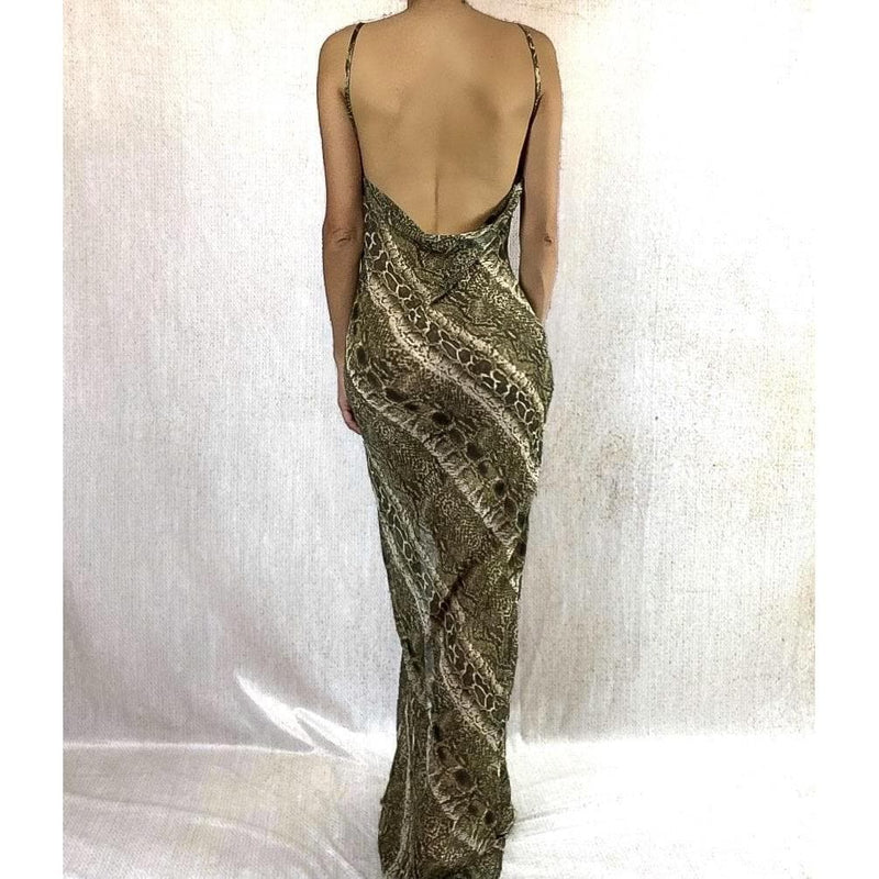 ANYA SNAKESKIN PRINT MAXI DRESS DRESS Laucala Boutique