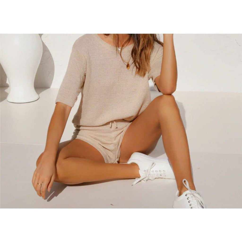 AVA LOUNGEWEAR SET - BEIGE SETS Laucala Boutique