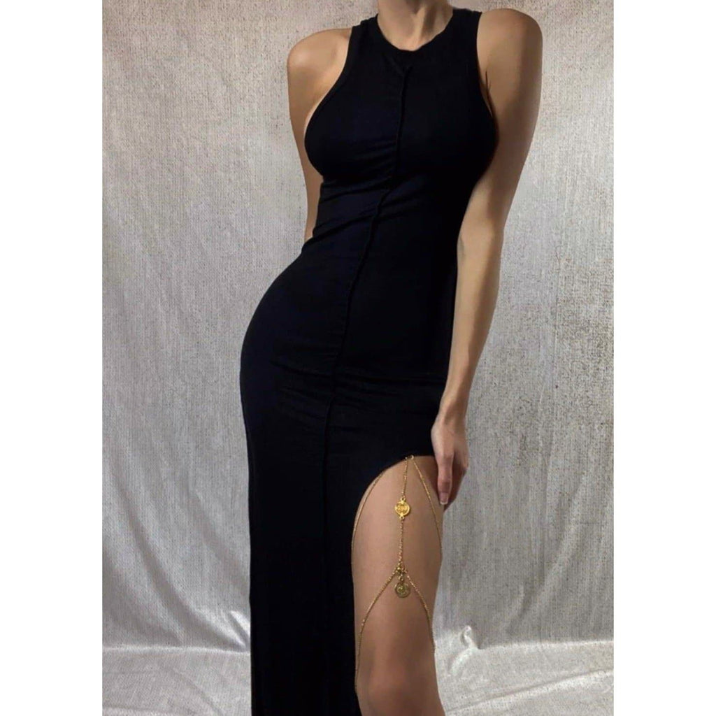 AYDA EXPOSED SEEM MAXI SPLIT DRESS - BLACK DRESS Laucala Boutique