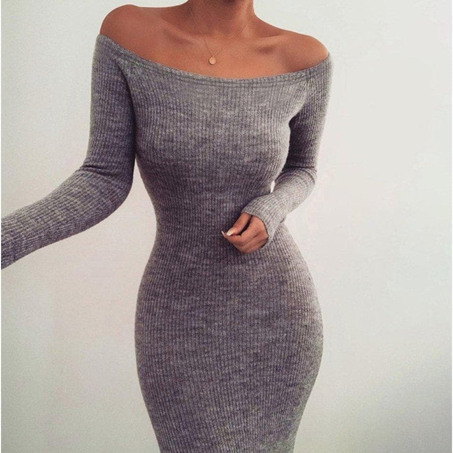 BONITA OFF THE SHOULDER RIB KNIT MIDI DRESS - GREY DRESS Laucala Boutique
