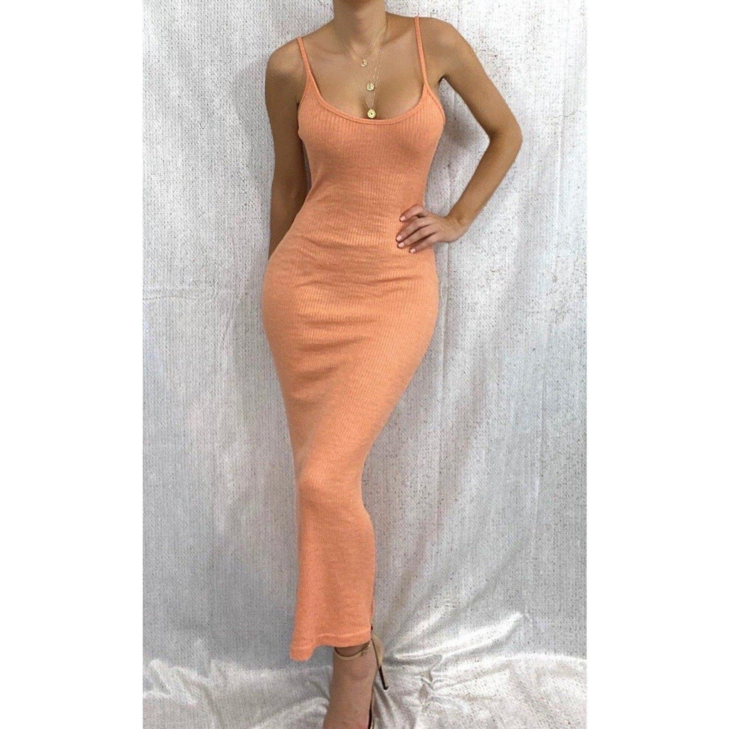 BONITA RIB KNIT MAXI DRESS - ORANGE DRESS Laucala Boutique