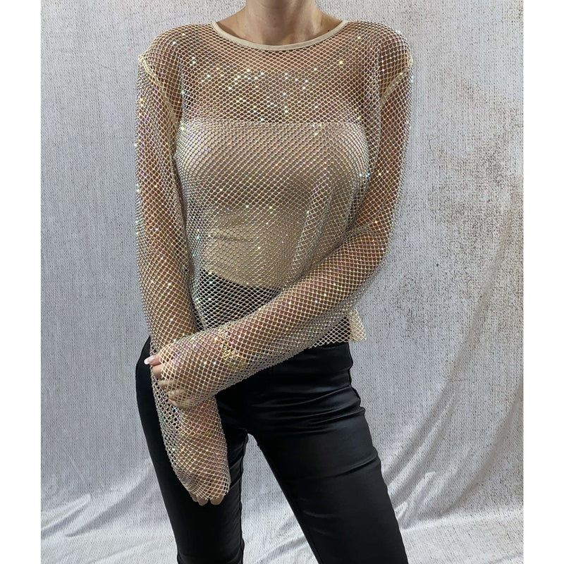 CELIA EMBELLISHED SHEER TOP - NUDE/GOLD TOP Laucala Boutique