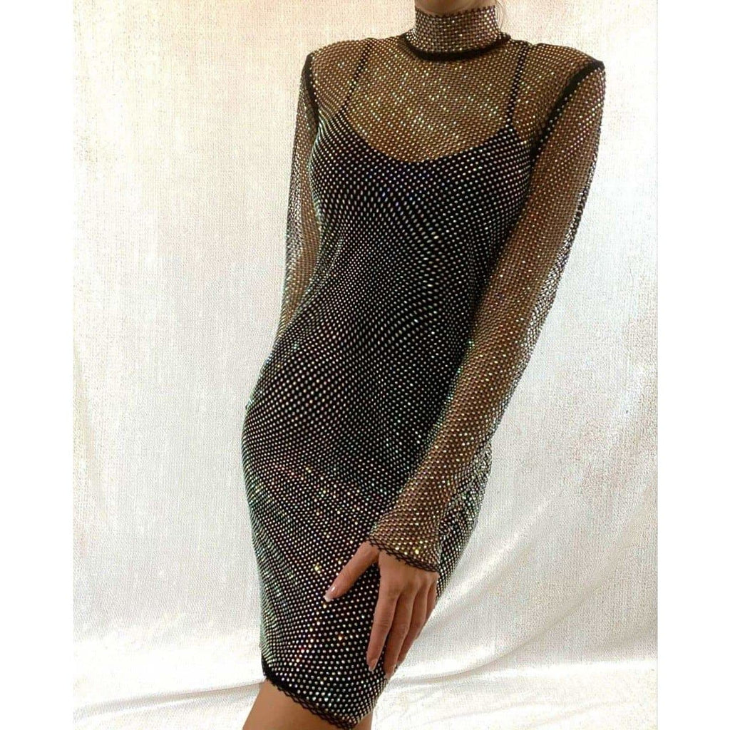 CELINA EMBELLISHED SHEER DRESS - BLACK DRESS Laucala Boutique