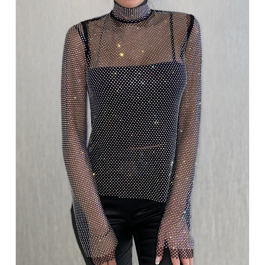 CELINA EMBELLISHED SHEER TOP - BLACK TOP Laucala Boutique