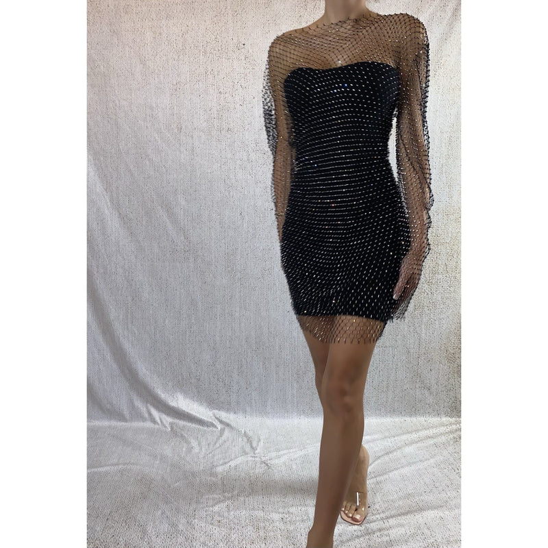 DELIA DIAMANTE EMBELLISHED MESH DRESS - BLACK DRESS Laucala Boutique