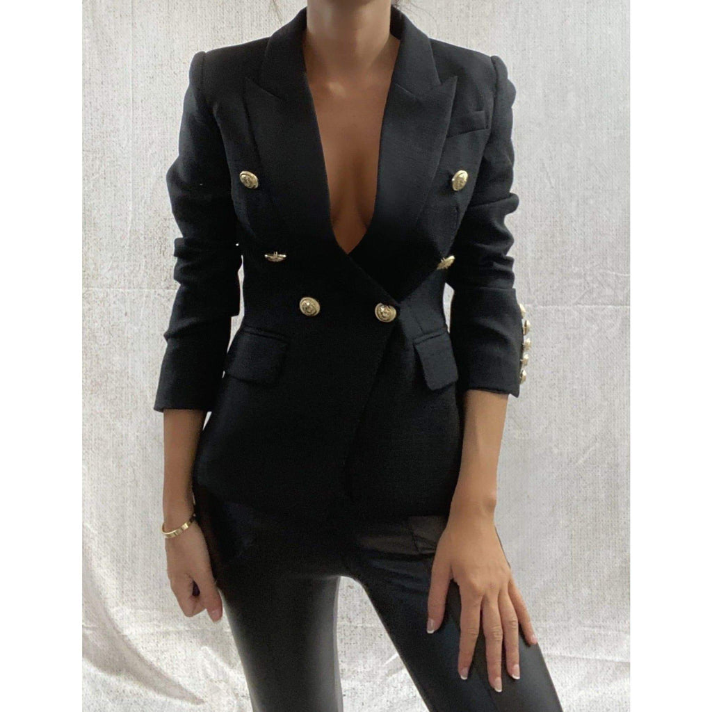 DOUBLE BREASTED BLAZER - BLACK (PRE-ORDER) BLAZERS Laucala Boutique