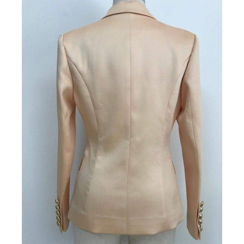 DOUBLE BREASTED SATIN BLAZER - CHAMPAGNE (PRE-ORDER) BLAZERS Laucala Boutique