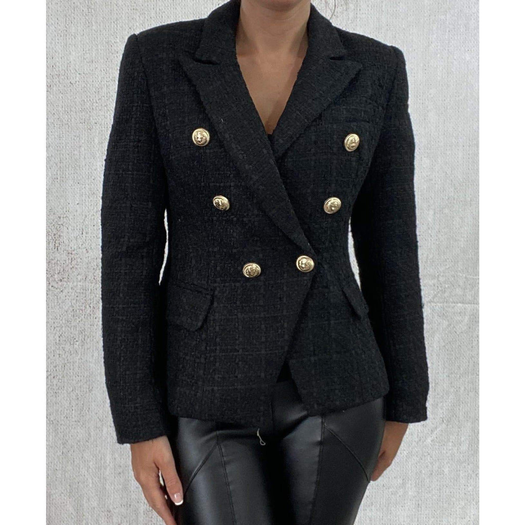 DOUBLE BREASTED TWEED BLAZER - BLACK (PRE-ORDER) BLAZERS Laucala Boutique