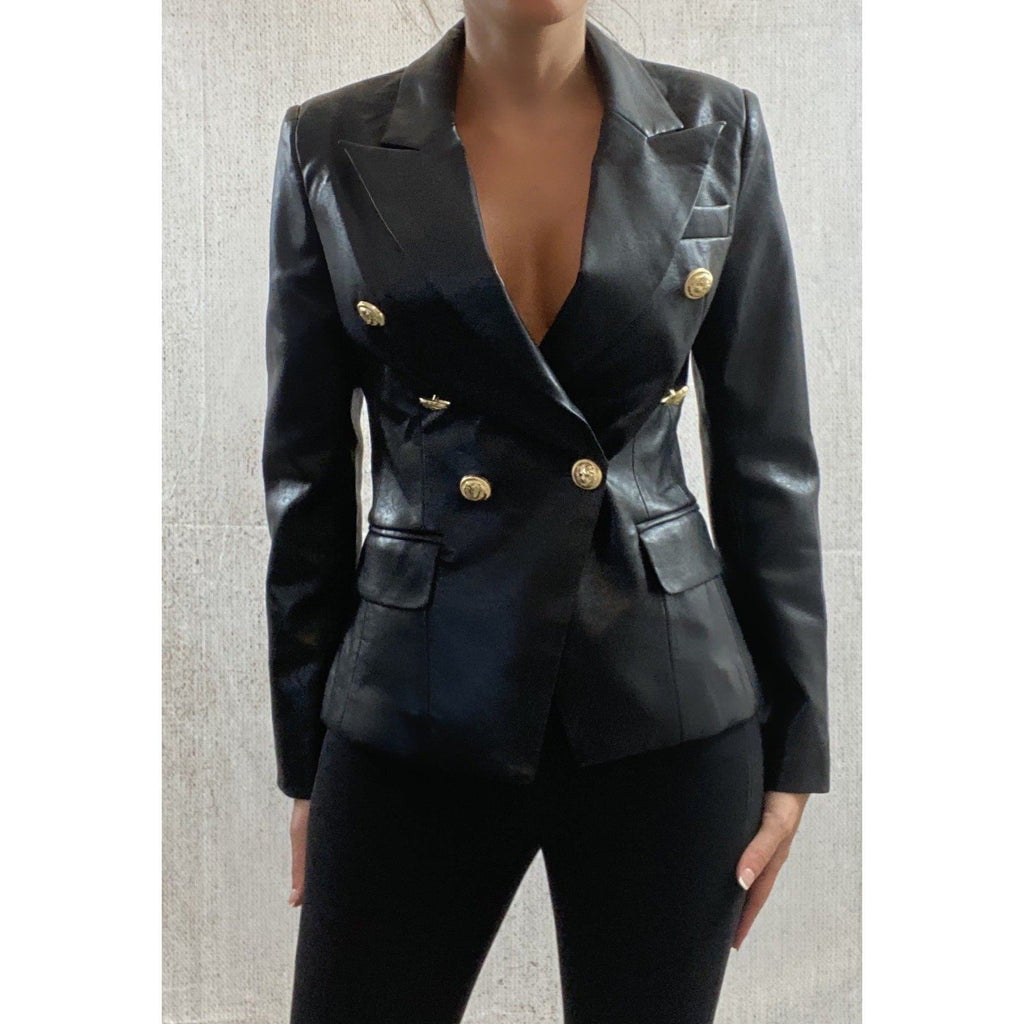 DOUBLE BREASTED VEGAN LEATHER BLAZER - BLACK (PRE-ORDER) BLAZERS Laucala Boutique