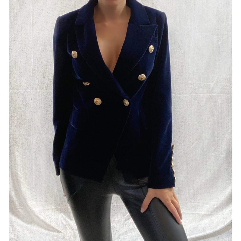 DOUBLE BREASTED VELVET BLAZER - NAVY (PRE-ORDER) BLAZERS Laucala Boutique