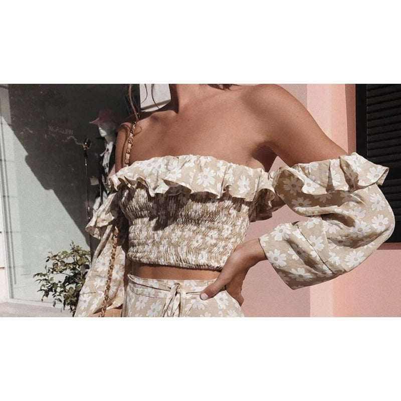 FLORA CROPPED BARDOT TOP - BEIGE TOP Laucala Boutique