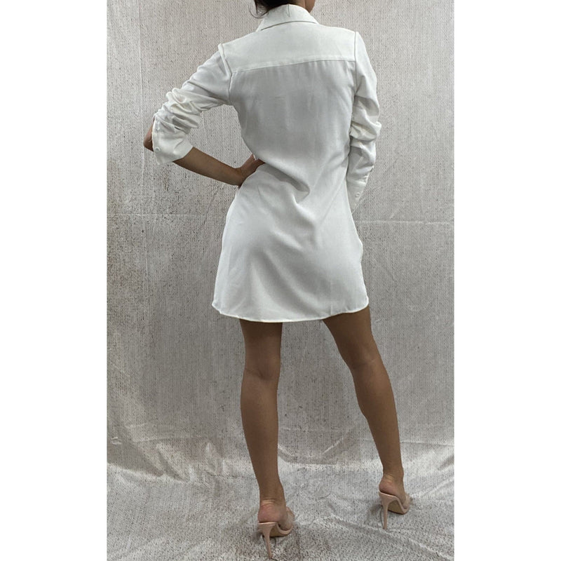 GINA TIE FRONT SHIRT DRESS - WHITE DRESS Laucala Boutique