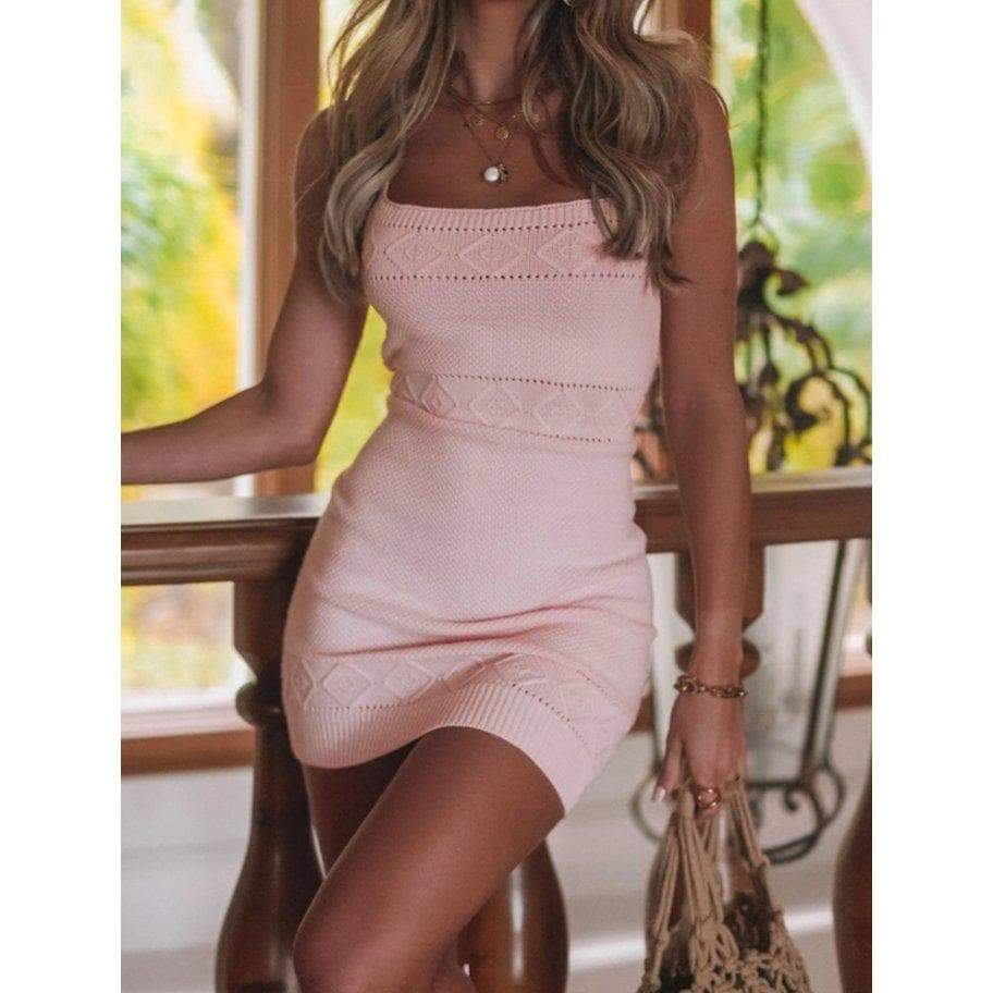 JEYLAN KNIT DRESS - BABY PINK DRESS Laucala Boutique