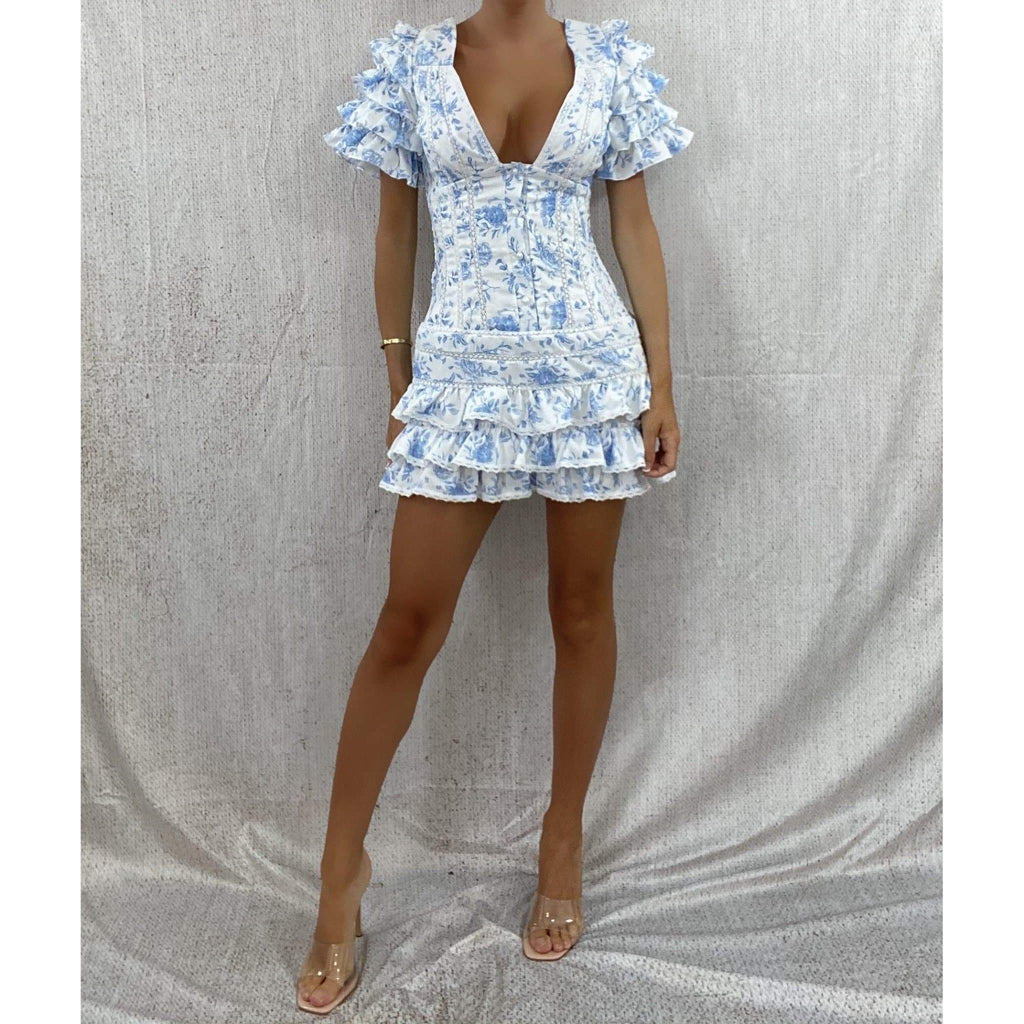 LUNA RUFFLE MINI DRESS DRESS Laucala Boutique