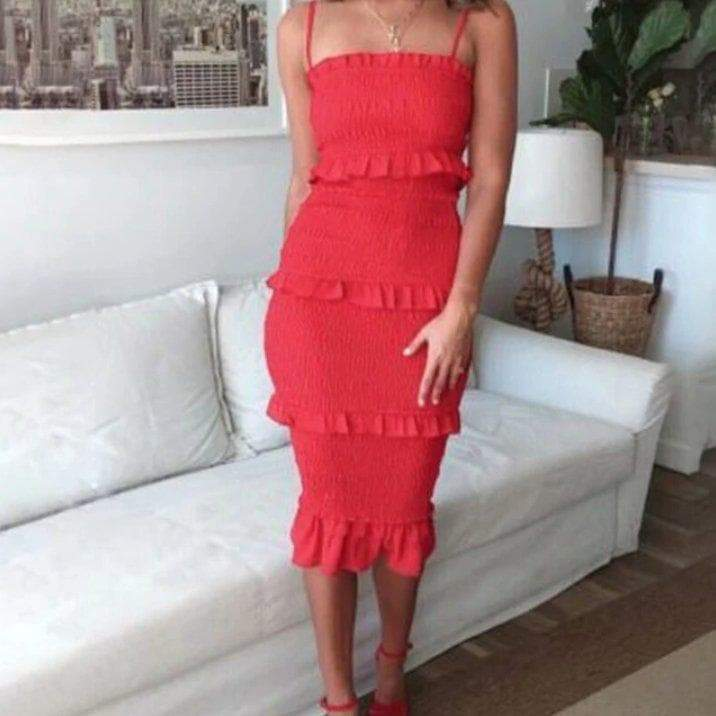 Marni Shirred Midi Dress - Red DRESS Laucala Boutique