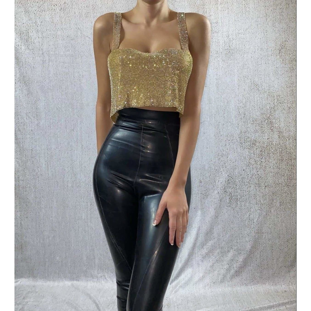 NAYLANI CROP TOP - GOLD TOP Laucala Boutique