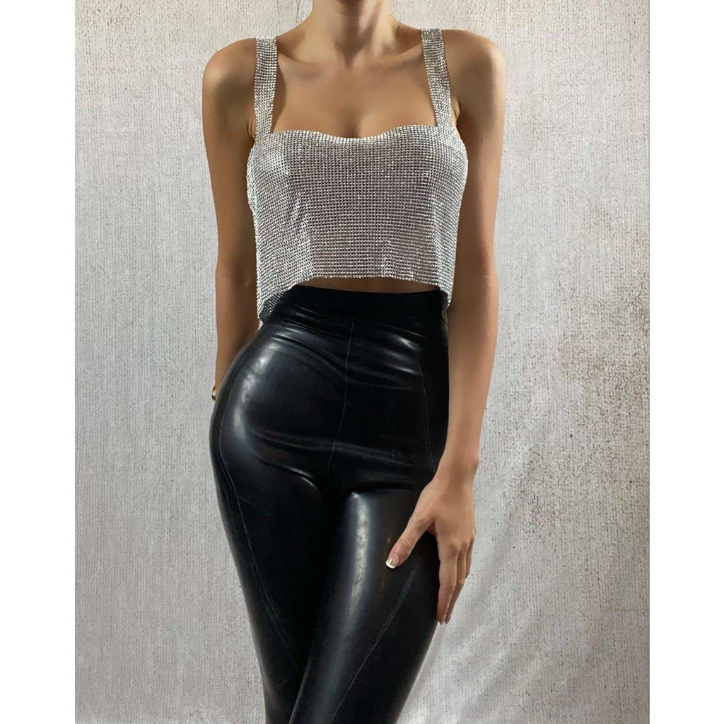 NAYLANI CROP TOP - SILVER TOP Laucala Boutique