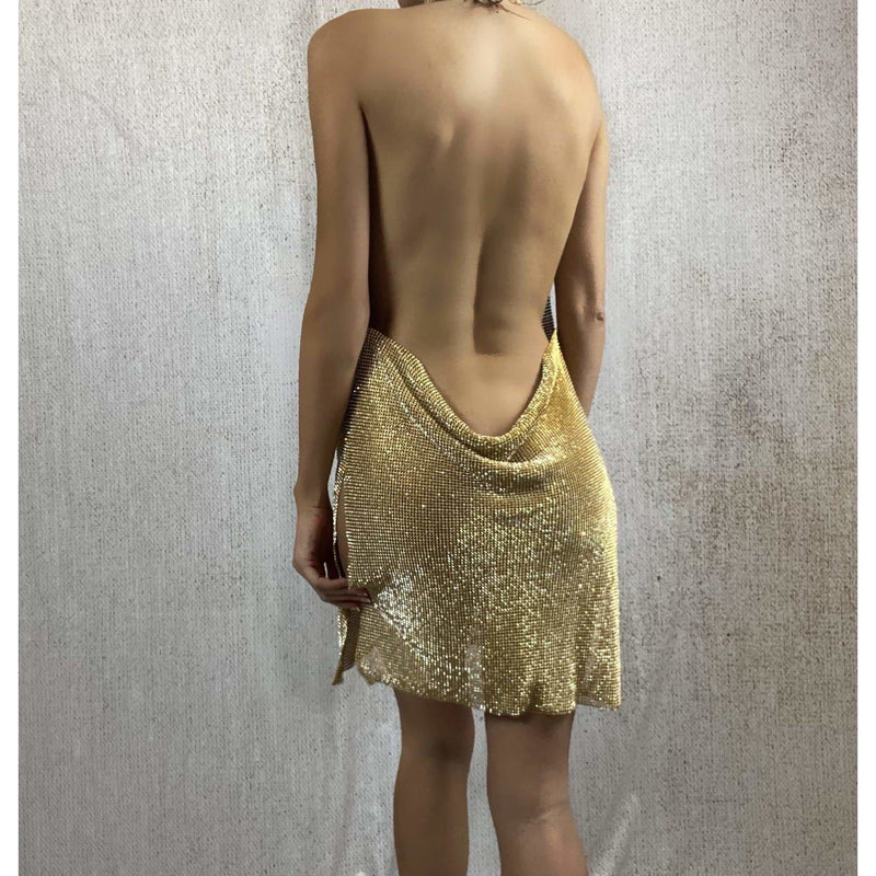NAYLANI DIAMANTE EMBELLISHED DRESS - GOLD (PRE-ORDER) DRESS Laucala Boutique