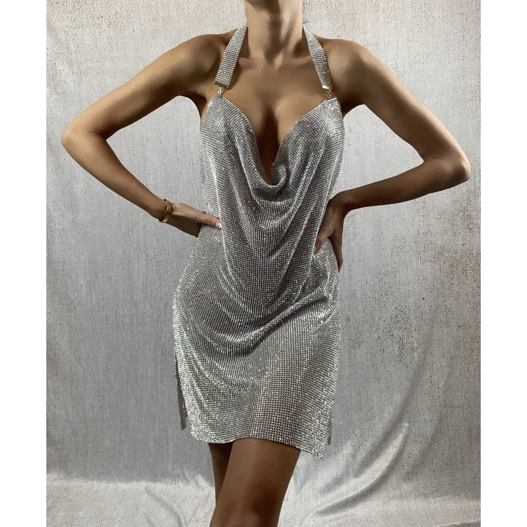 NAYLANI DIAMANTE EMBELLISHED DRESS - SILVER DRESS Laucala Boutique