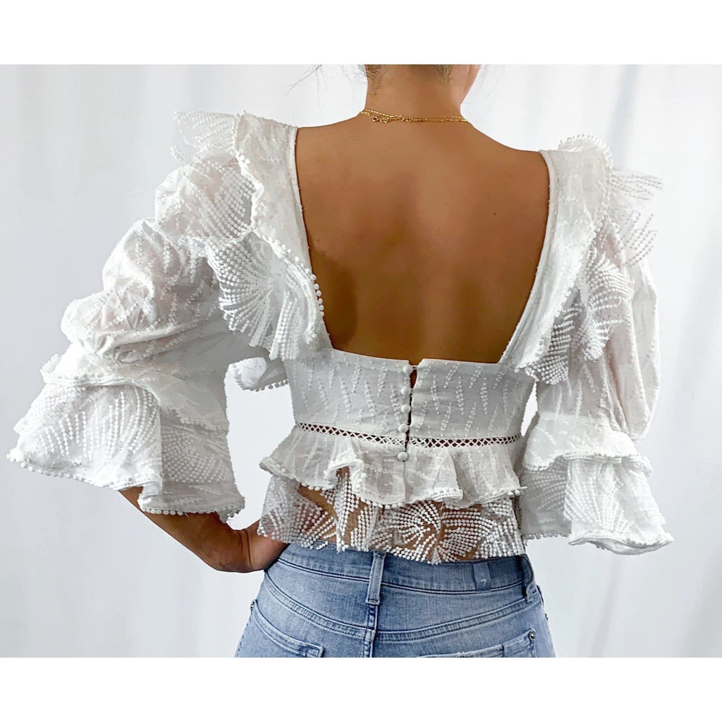 RUYA RUFFLE LACE CUPPED BLOUSE - WHITE TOP Laucala Boutique