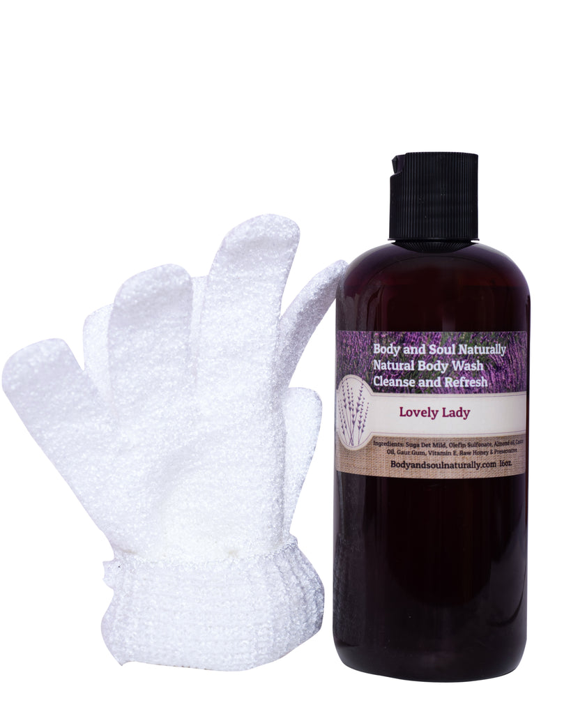 Natural Body Wash with Exfoliating Gloves
