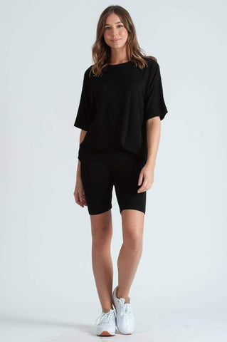 MONICA RAYON FRENCH TERRY JERSEY TEE - BLACK TEA