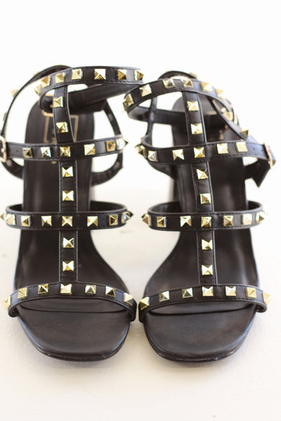 HUICI BLACK STUDDED HEEL