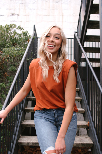 SHOULDER PAD SLEEVE SHIRT- RUST ORANGE
