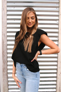 SHOULDER PAD SLEEVE SHIRT- BLACK