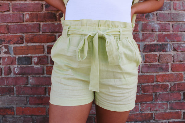 RACHEL HIGH WAISTED LINEN TIE SHORTS