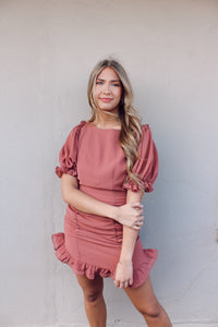 SUMMER NIGHTS RUFFLE DRESS IN MARSALA