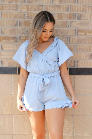 GOOD TIMES ONLY ROMPER IN DUSTY BLUE