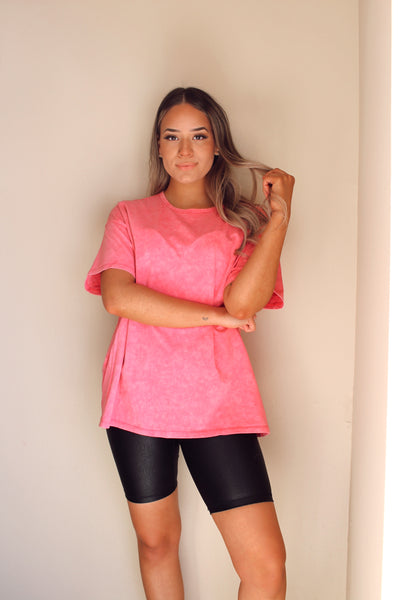 PRETTY IN PINK ACID WASH TEE