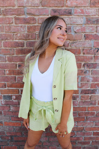 RACHEL SAGE GREEN LINEN BUTTON UP