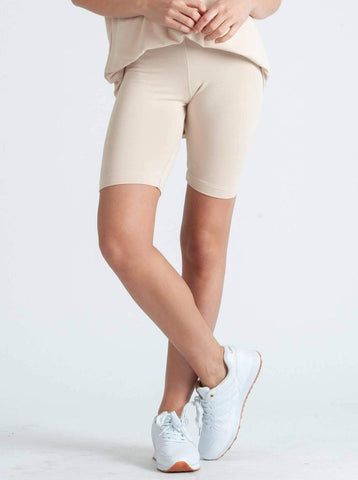 MONICA RAYON FRENCH TERRY JERSEY SHORT- MILK TEA