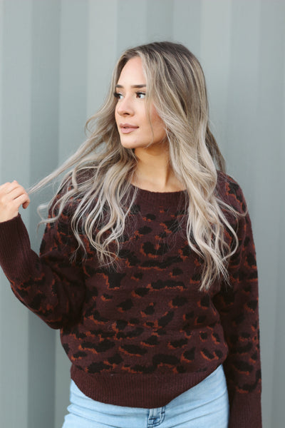 SEEING SPOTS CHOCOLATE LEOPARD SWEATER