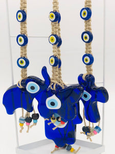 Elephant Glass Evileye Hanging for Good Luck