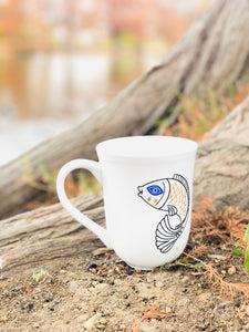 Evil Eye Design Fish and Bird Personalized Mug Custom Gift With Your Name