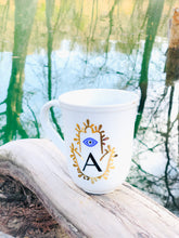 Load image into Gallery viewer, Evil Eye Design Hamsa Hand Personalized Mug Custom Gift With First Letter Of Your Name Pick Your Letter Mug